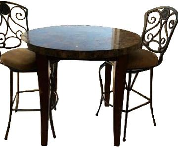 High Top Marble Table w/ 2 Dining Stools