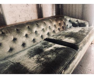 Mid-Century Scandinavian Velvet Sofa
