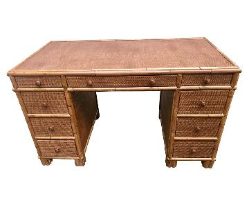 Vintage Bamboo Rattan & Cane Writing Desk
