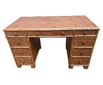 Vintage Bamboo Rattan & Cane Writing Desk