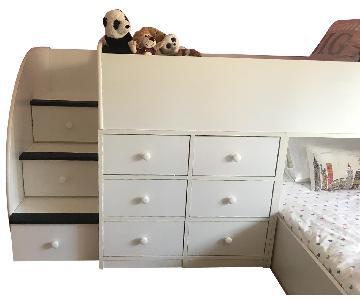 Kids Twin Storage Loft Bed w/ Trundle