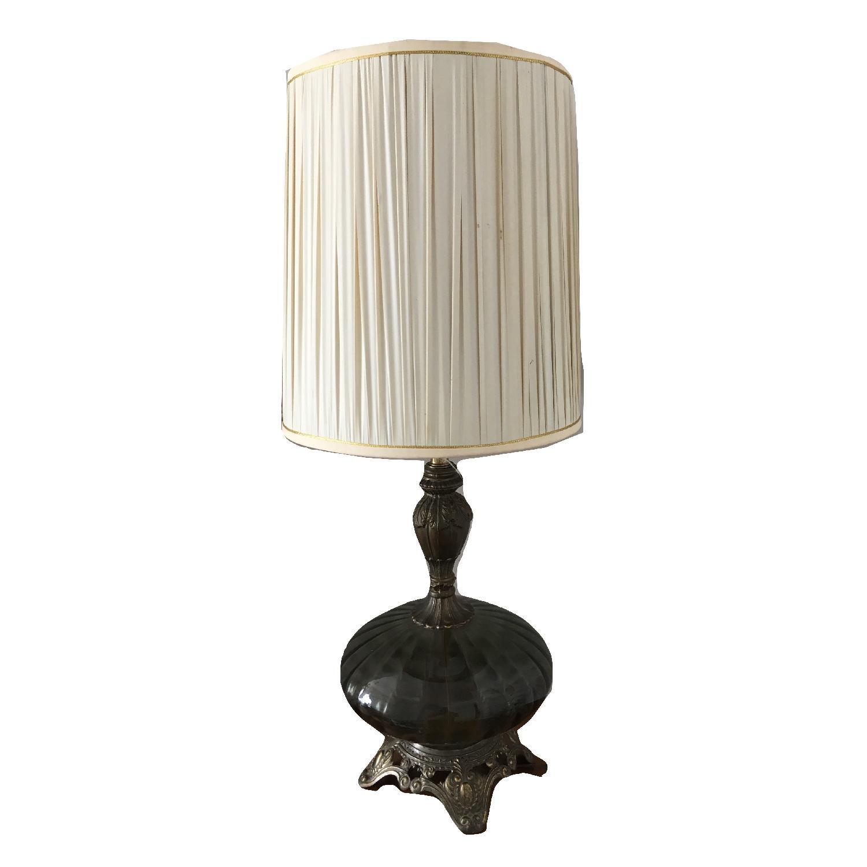 Vintage Metal Gray Glass Globe Hollywood Regency Style Lamp - image-0