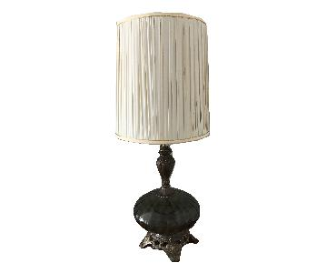 Vintage Metal Gray Glass Globe Hollywood Regency Style Lamp