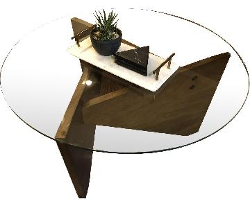 West Elm Circular Glass/Wood Coffee Table