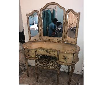 Vintage 1950's Hand-Painted Vanity w/ Matching Bench