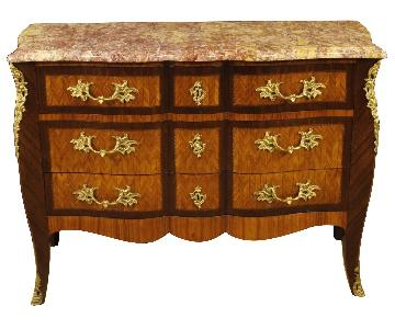 French Inlaid Wood Chest of Drawers w/ Marble Top