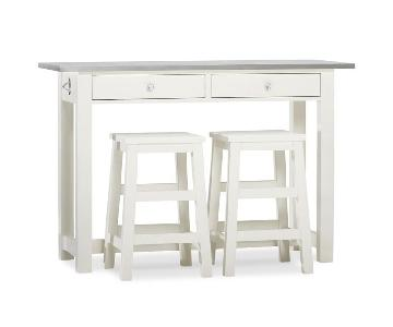 Pottery Barn Balboa Kitchen Island w/ 2 Stools