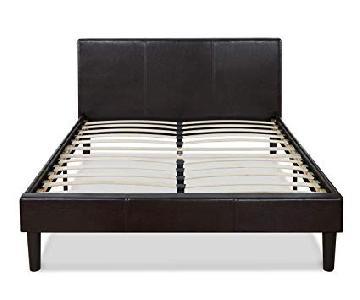 Zinus Faux Leather Upholstered Platform Bed w/ Wooden Slats