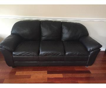Macy's Black Leather 3 Seater Sofa