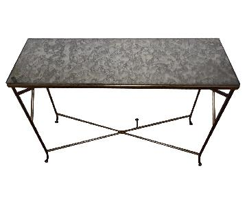 Mid Century 60's Gold Console Table w/ Vintage Glass