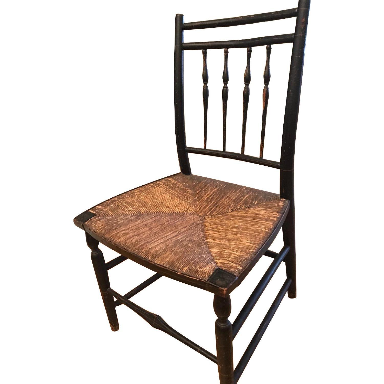 Antique Black Chair w/ Rush Seat & Stenciled Frame
