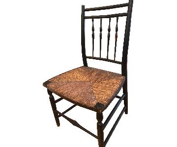 Antique Black Chair w/ Rush Seat & Stenciled Frame