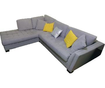 Raymour & Flanigan Grey Tufted 2-Piece Sectional Sofa