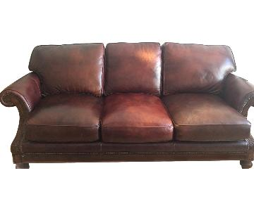Bradington Young Leather Sofa w/ Gold Leaf Engraving