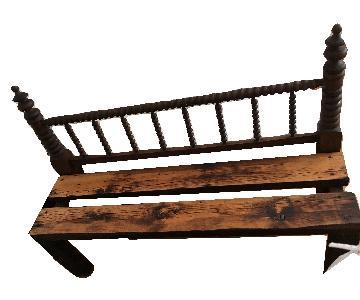 Antique Indoor Outdoor Patio Headboard Bench