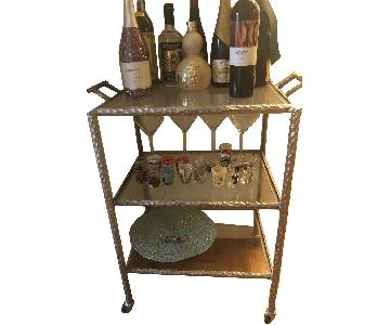 Glass Bar Cart w/ Brushed Metal Accents
