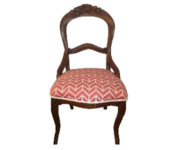 Antique Wooden Chair w/ Pink Cushion