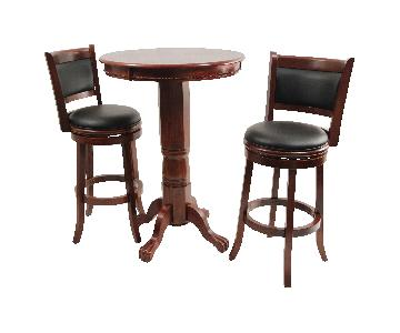 Boraam Augusta 3 Piece Pub Table Set in Dark Cherry