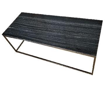 West Elm Grey Box Frame Marble Coffee Table