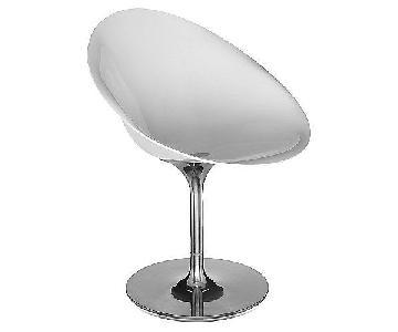 Kartell Eros Glossy White & Acrylic Swivel Chairs