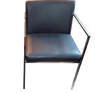 Modern Leather Chairs w/ Chrome Legs
