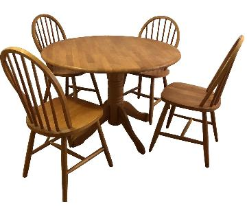 Round Pedestal Wood Dining Table w/ 4 Chairs