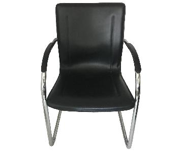 Black Faux Leather Modern Chairs