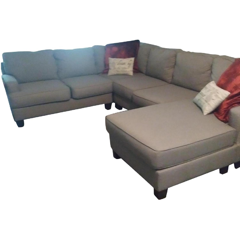 Raymour U0026 Flanigan Grey 3 Piece Sectional Sofa ...