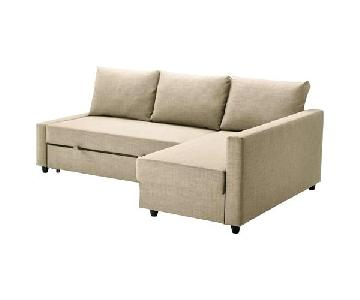 Ikea Friheten Sleeper Sectional Sofa in Skiftebo Beige