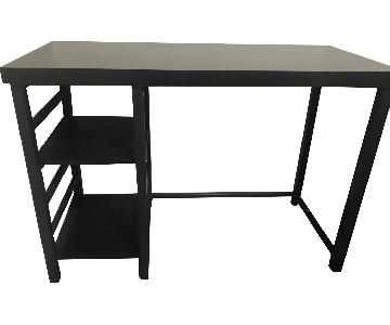 Black Metal Frame Computer Desk w/ Wood Top
