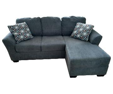 Ashley Brise-Slate Chaise Sectional Sofa & ottoman