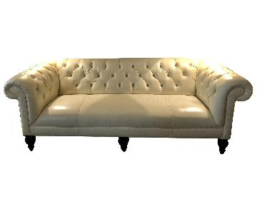 Mitchell Gold + Bob Williams Chester Ivory Leather Sofa