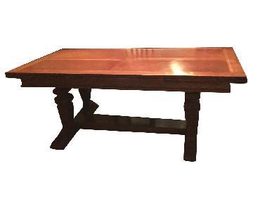 Vintage Dining Table w/ Oak Veneer Inlays