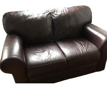 Italian Dark Brown/Burgundy Leather Loveseat
