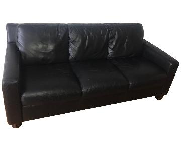 Italiana Divani Black Leather Sofa + Leather Footrest
