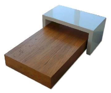 West Elm 2 Piece Wood & White Lacquer Coffee Table