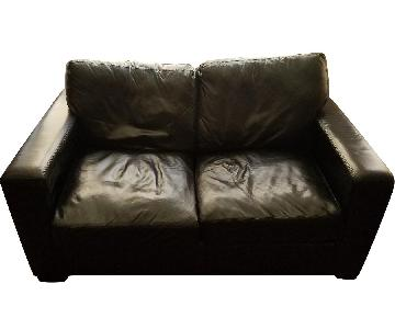 Jennifer Convertibles Black Leather Loveseat