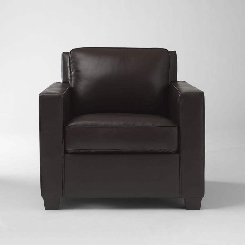 West Elm Henry Leather Armchair U0026 Ottoman ...