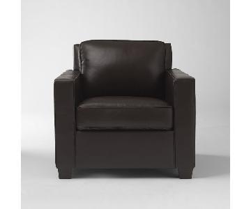 West Elm Henry Leather Armchair & Ottoman