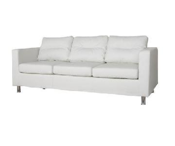 Gold Sparrow White/Cream Faux Leather Sofa