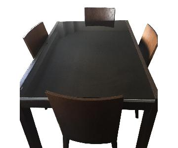 Calligaris Expandable Wood & Glass Dining Table w/ 4 Chairs