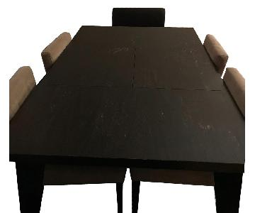 West Elm Angled Extendable Table w/ 4 Suede/2 Leather Chairs
