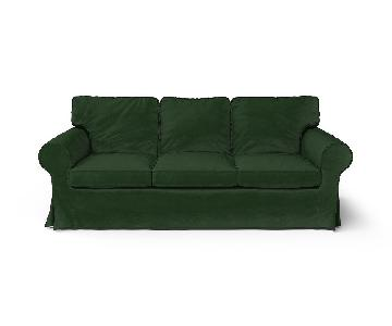 Ikea Ektorp Sofa w/ Custom Velvet Slip Covers