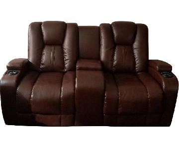 Bob's Leather 2 Seater Recliner w/ Console