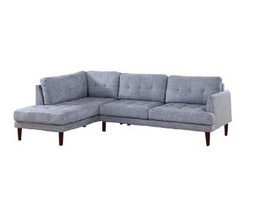 Star Home Living Blue Button Tufted Chaise Sectional Sofa
