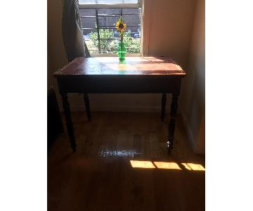 Antique Desk w/ Gold Embossed Leather Top