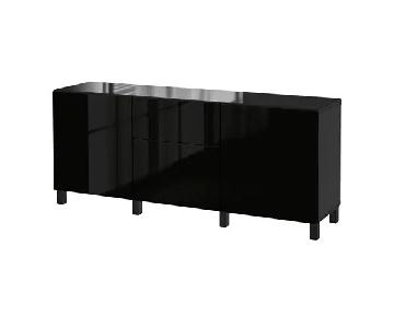 Ikea Besta Storage Unit in High Gloss Black