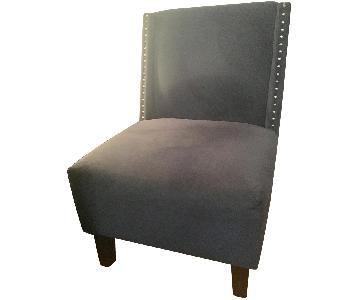 West Elm Blue Velvet Nailhead Chair