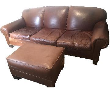 Ralph Lauren Leather Sofa + Chair & Ottoman