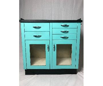 1940s Aqua/Black Painted Metal Medicine Cabinet